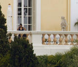 Angelina Jolie topless changing her clothes on terrace in Maryland Villa